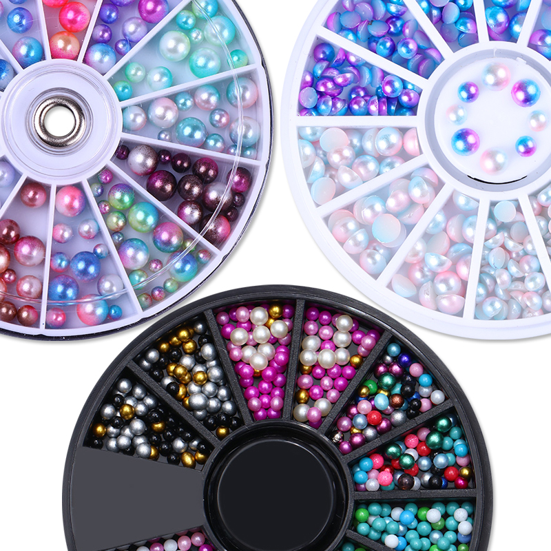1 Box Gradient Flatback AB Color Pearl Beads Chameleon Rhinestones 3D Nail Art Decoration Wheel Manicure Nail Art Charms 1 box mixed color rhinestones 3d nail decoration metal studs laser rivet beads resin jelly gems uv gel nail art charms manicure