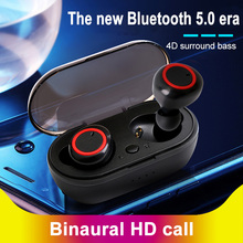Teamyo TWS Bluetooth Earphone True Invisible Wireless Bluetooth Headset 4D Surround Stereo Headphone Earbuds with Charging Box