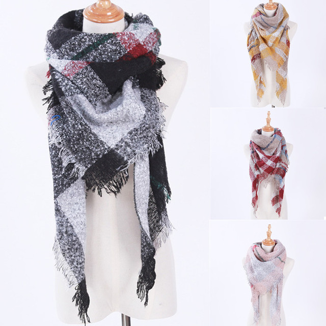 55dc9f4cc37b8 140*140cm Triangle Scarf Winter warm faux cashmere Scarves shawl Pashmina  For Women Girls fashion Tassel Plaid Oversize Poncho