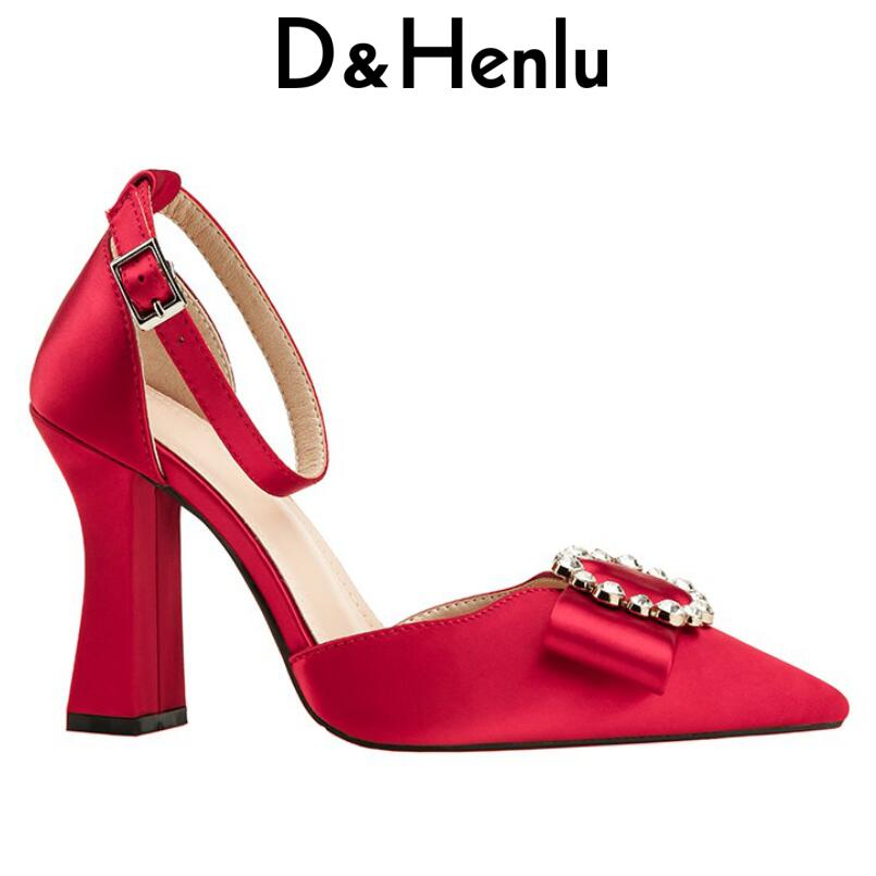 D&Henlu Bowtie Buckle Strap Women Shoes High Heel 2018 Square Heel Pumps Pointed Toe Ankle Strap Heels Women D'Orsay Pumps Pink black square heel pointed toe hollow shoes women buckle strap fashion ankle strap high heels pumps white summer plus size ladies