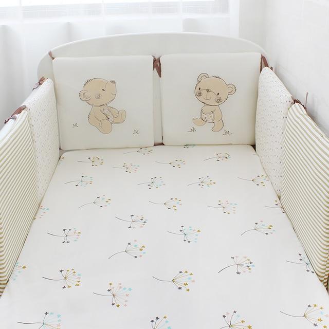 6 Pcs Pack Bebe Lit Pare Chocs Coton Lit Bebe Protecteur Enfants Lit