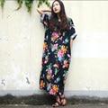 Women Summer Dress 2017 New Fashion Cotton Linen Vintage Flower Print Women Dress Plus Size Loose Dress