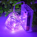 1X (purple)2M 20 LED Copper String Lights Fairy Lights Battery Operated Ultra Thin String Wire for DIY Christmas Trees