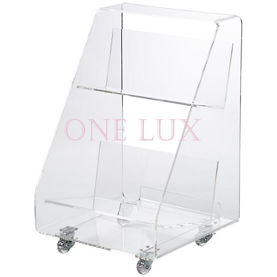 ONE LUX Clear Acrylic Book Cart On WheelsRolling Perspex BookshelfLucite Magazine Tables
