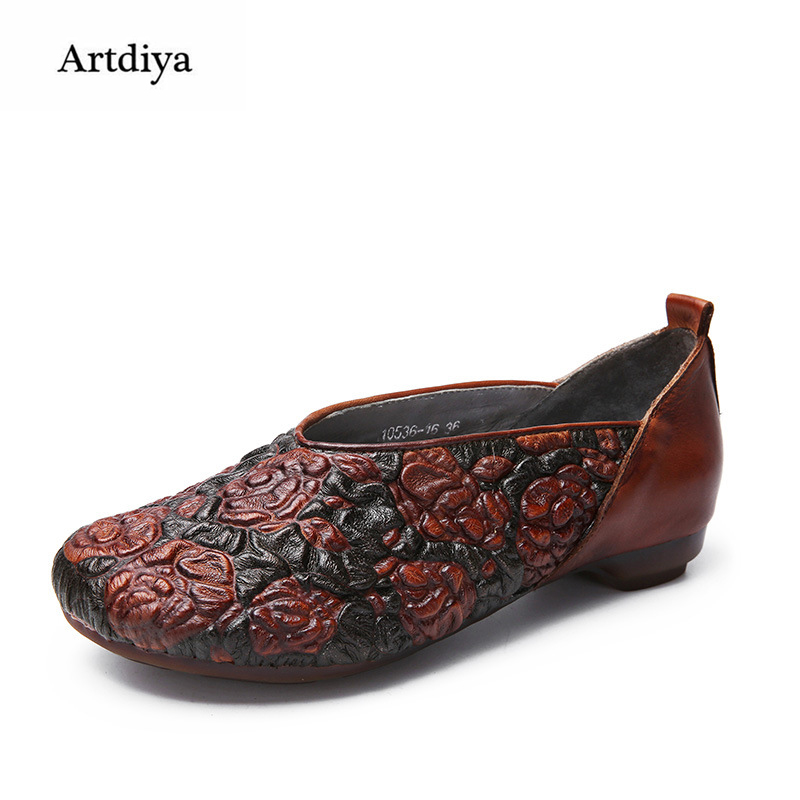 Artdiya 2018 New Women Shoes Spring Folk Style Fashionable Casual Shoes Retro Embossing Leather Handmade Flat Shoes 10536-16 original handmade autumn women genuine leather shoes cowhide loafers real skin shoes folk style ladies flat shoes for mom sapato
