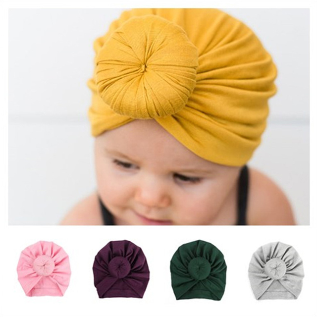 8273efaa50953 2018 New Donut Baby Hat Candy Color Newborn Elastic Cotton Baby Beanie Hat  Caps Childs Multicolor Girl Boy Turban Hats