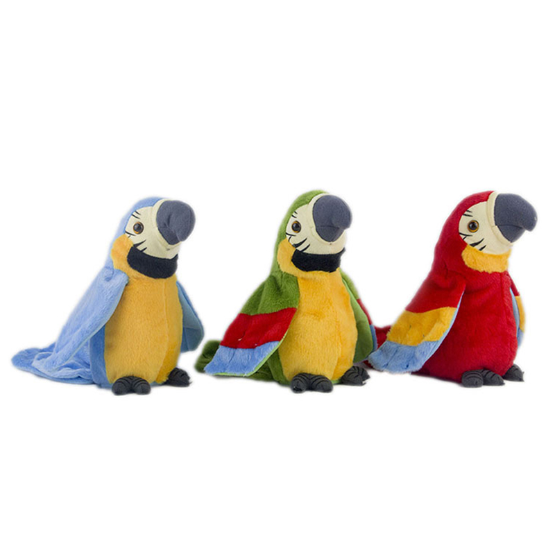 Купить с кэшбэком Hot Sale 26cm Speak Talking Record Cute Parrot Repeats Waving Wings Electric Plush Simulation Parrot Toy Macaw Toy Cute Kid Gift
