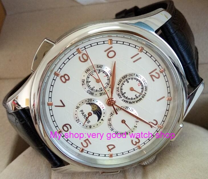 лучшая цена 44MM PARNIS Automatic Self-Wind movement white dial multi-funtion men's watch Mechanical watches 129A