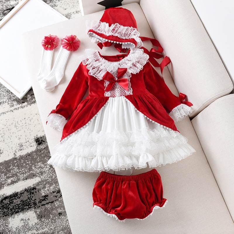 Baby Dress for Girls Princess Brithday Party Dresses Girl Christening Spanish Kids Dress Pink Robe Fille Children Clothing 3PCS girl