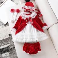 Baby Dress for Girls Princess Brithday Party Dresses Girl Christening Spanish Kids Dress Pink Robe Fille Children Clothing 3PCS