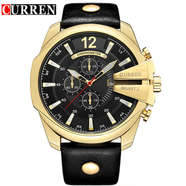 Curren 8176 Men Watch Top Brand Luxury Gold Male Watch Fashion Leather Strap Casual Sport Wristwatch With Big Dial Dropshipping