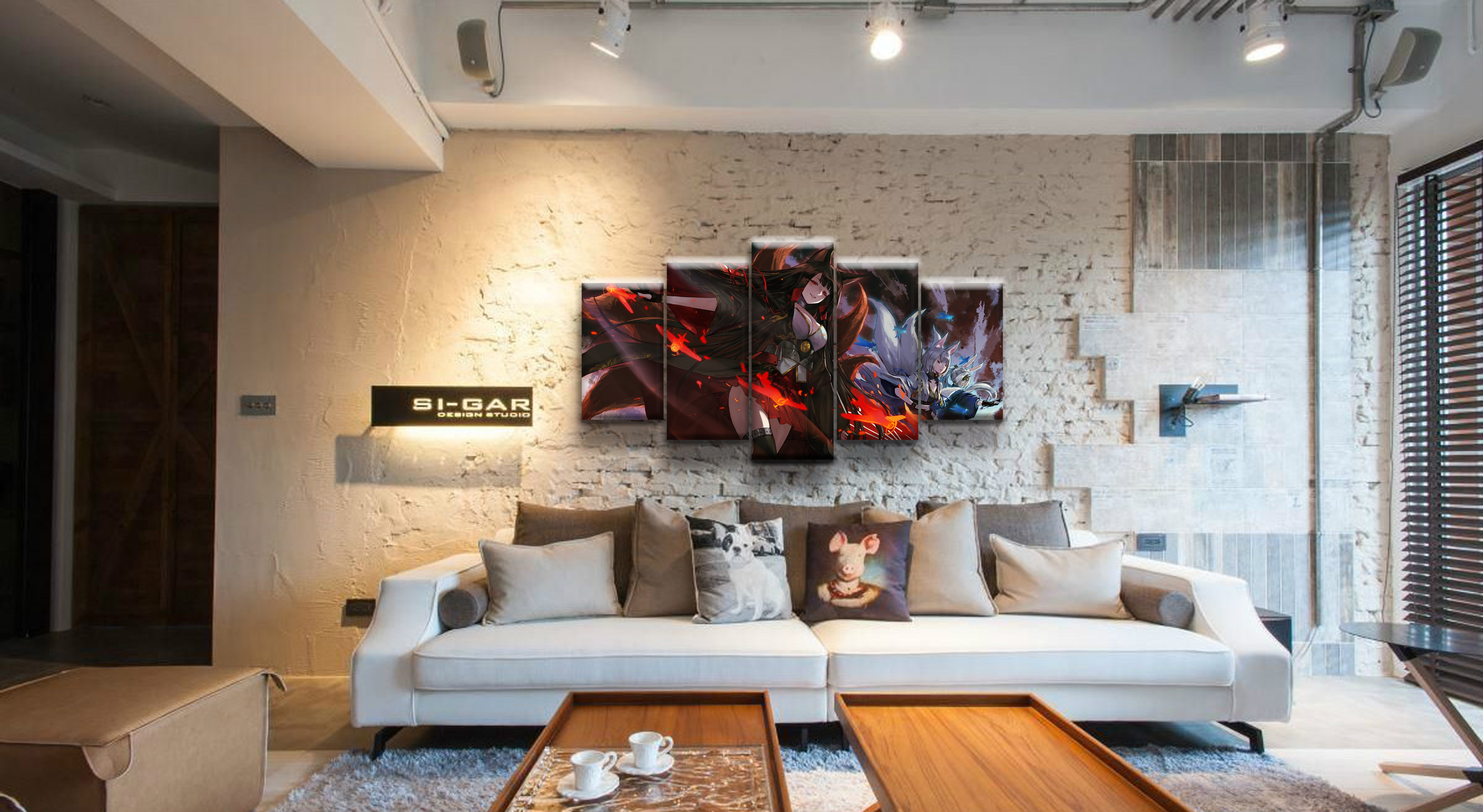 5 Panel Akagi Azur Lane Game Poster Canvas Printed Painting Living Room Wall Art Picture