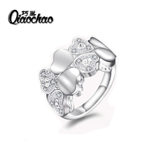 Heart wedding rings Silver jewelry For Women vintage Ring luxury Bijoux zirconia Accessories R47