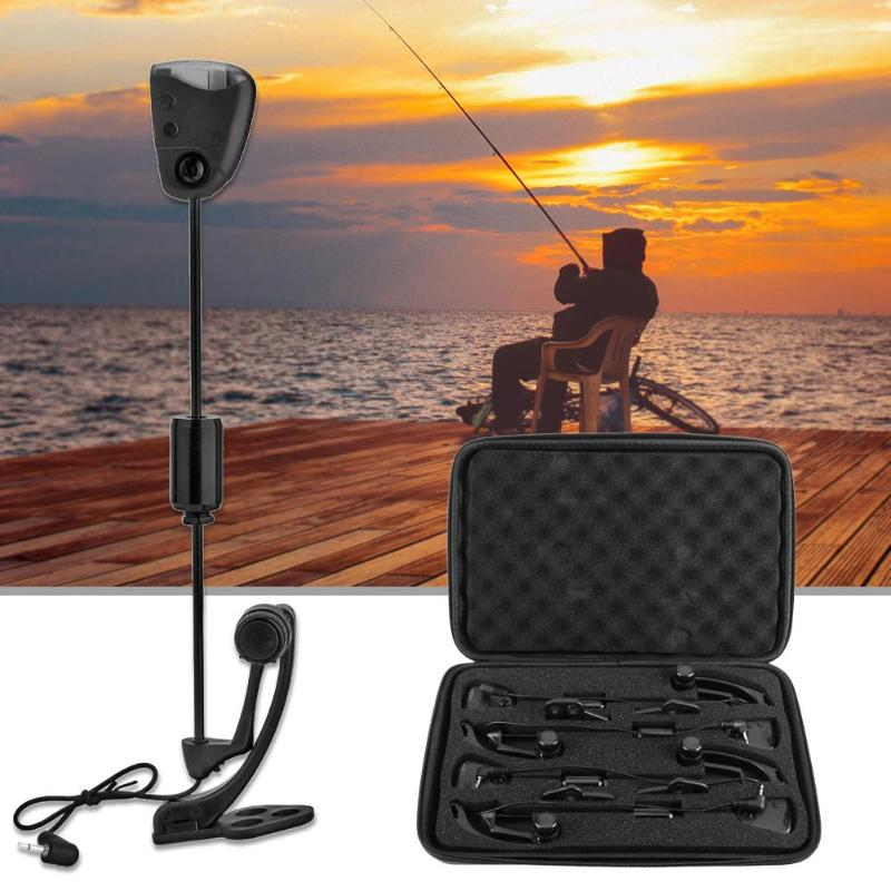 4pcs Carp Fishing Bite Alarm Swingers Hangers LED Illuminated Bite Indicators with Carrying Case Carp Fishing