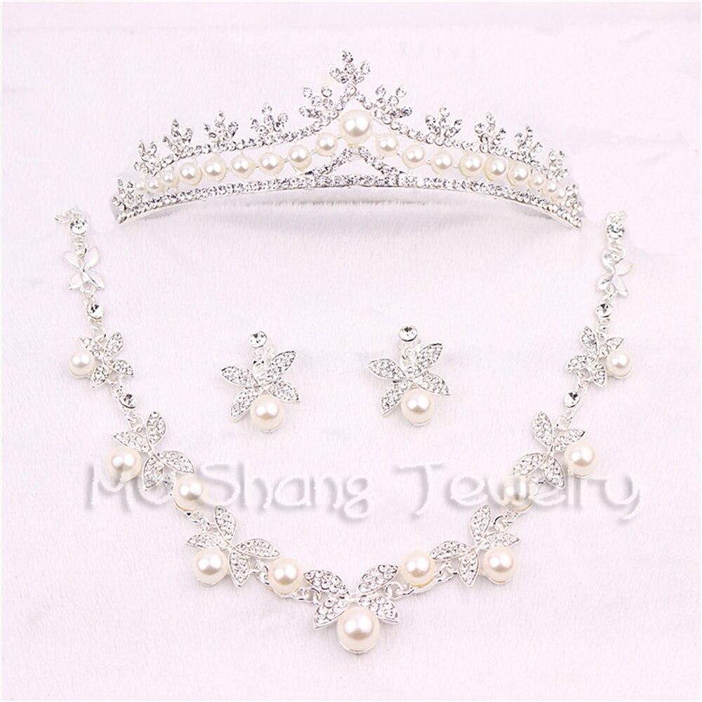 Ensembles de bijoux de mariage de Style coréen cristal strass imiter perle papillon fleurs diadèmes couronne collier boucles d'oreilles ensemble