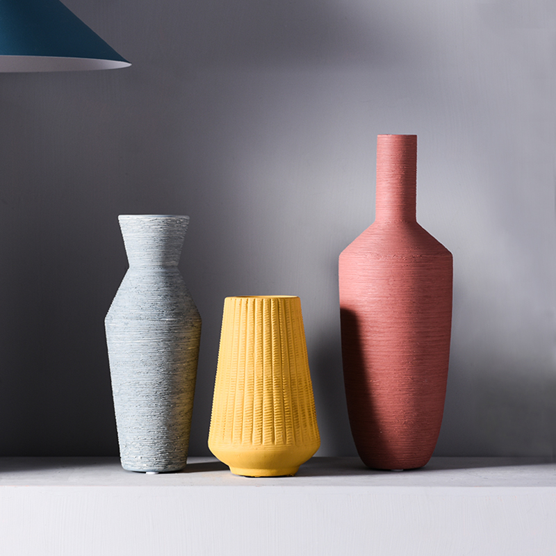 Nordic Simple Color Wire Drawing Ceramic Vase Decor Dried Flowers Arrangement Home Living Room Bar Hotel Home Stay Decoration