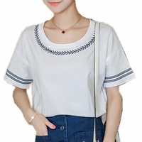 Summer Tee Shirt Women Embrooidery White Grey T Shirt Femme Cotton Short Sleeve O Neck Plus