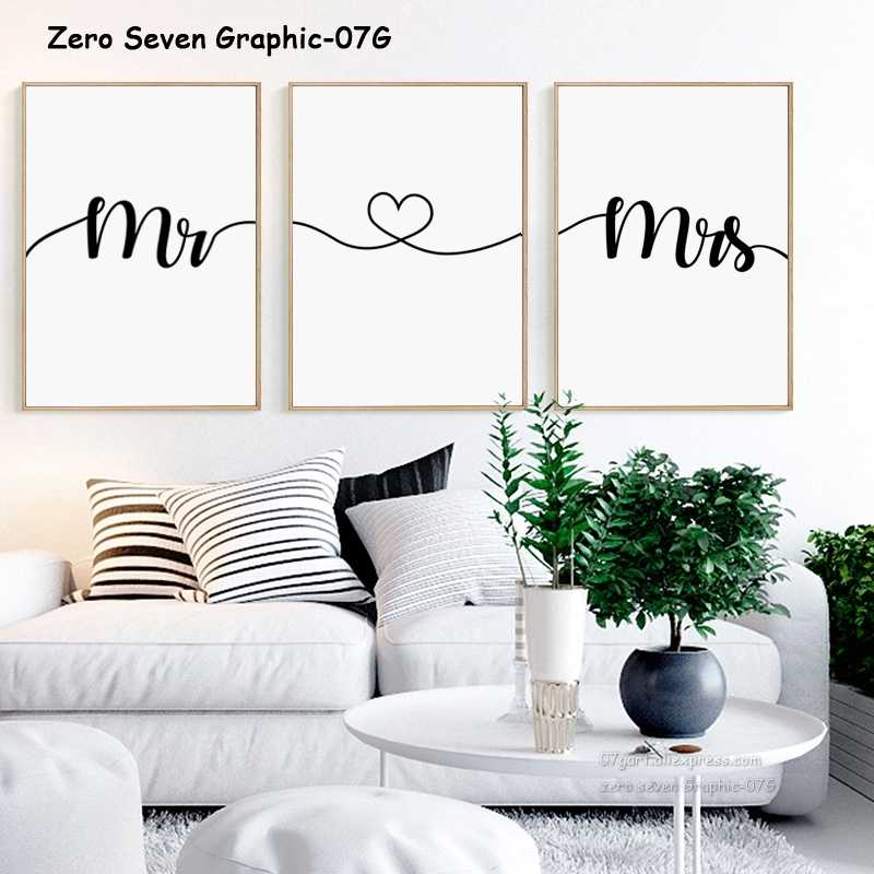 Black And White Love Phrase Mr & Mrs Canvas Painting Posters And Prints Living Room Bedroom Wall Art Pictures Home Decoration