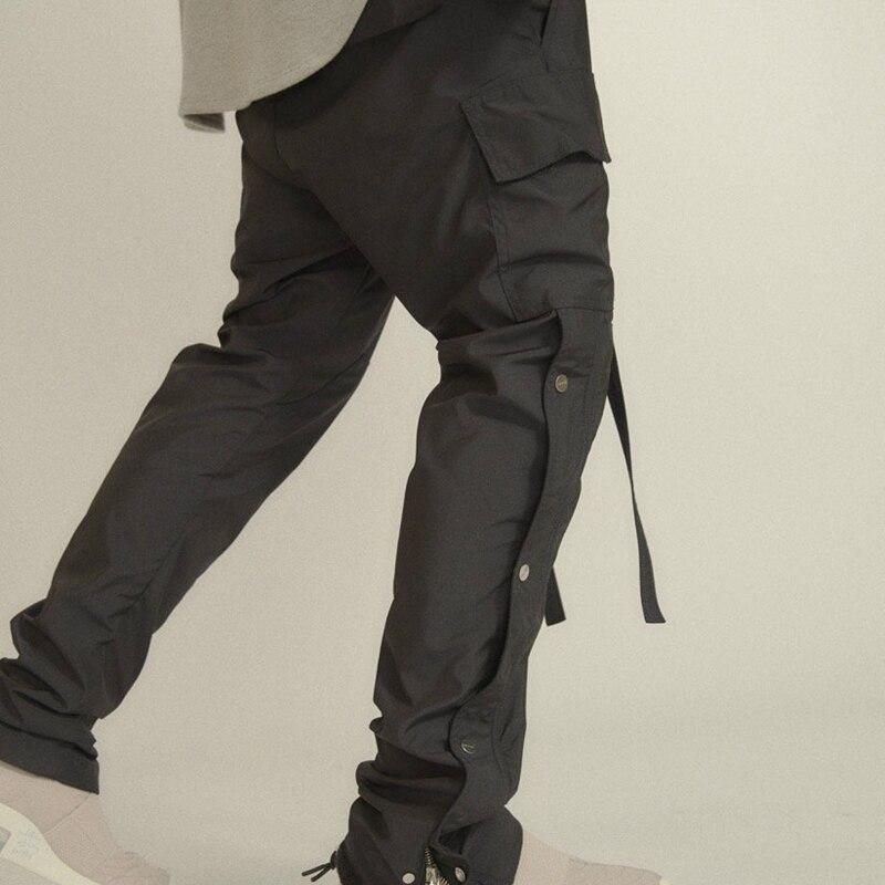 Homme pantalon Cargo à bouton-pression latéral Hip Hop coupe Slim taille côtelée pantalon de survêtement noir/café