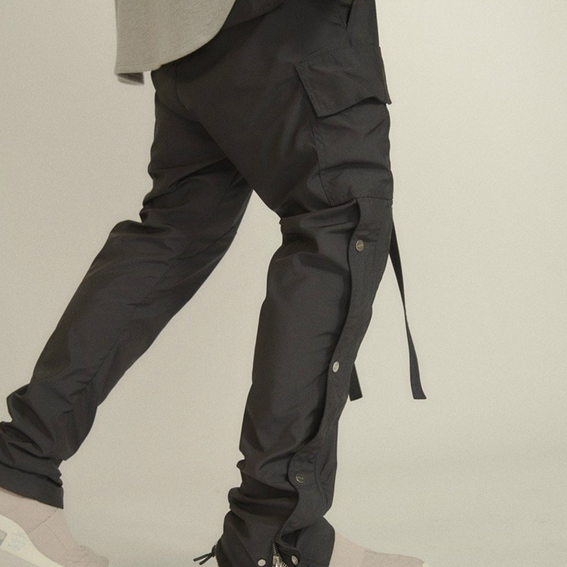 Men Side Snap Cargo Pants Hip Hop Slim Fit Ribboned Waistband Track Pants Black/Coffee