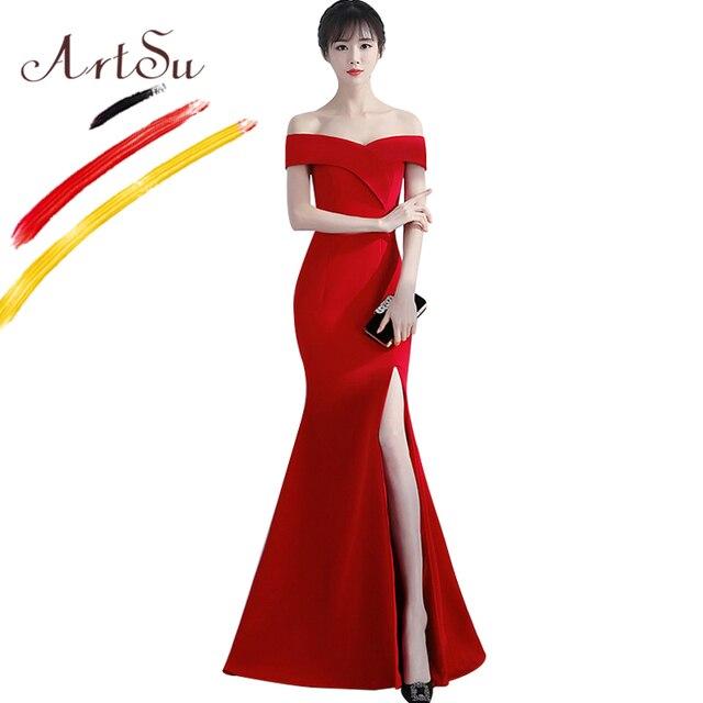 4a0740765 ArtSu élégant femmes robe de bal longue épaule dénudée mince Wrap étage  longueur soirée Sexy Vestidos Maxi sirène 2018