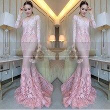 Kostenloser versand Sexy Stil Erröten Rosa Meerjungfrau Abendkleider mit Langarm Winter Abendgesellschaft Kleid Frauen Plus Größe Kleid