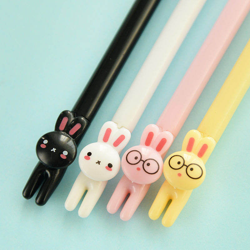 F17 4X Super Cute Kawaii Grass Rabbit Animal Gel Pen Writing Signing Stationery School Supply Student Rewarding Kids Gift