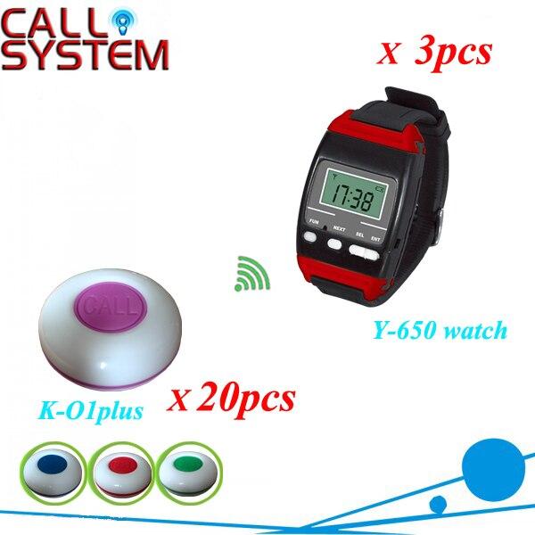 Bouton d'appel sans fil bouton d'appel serveur K-O1-plus et montre-bracelet Y-650/433 mhz livraison DHL gratuite