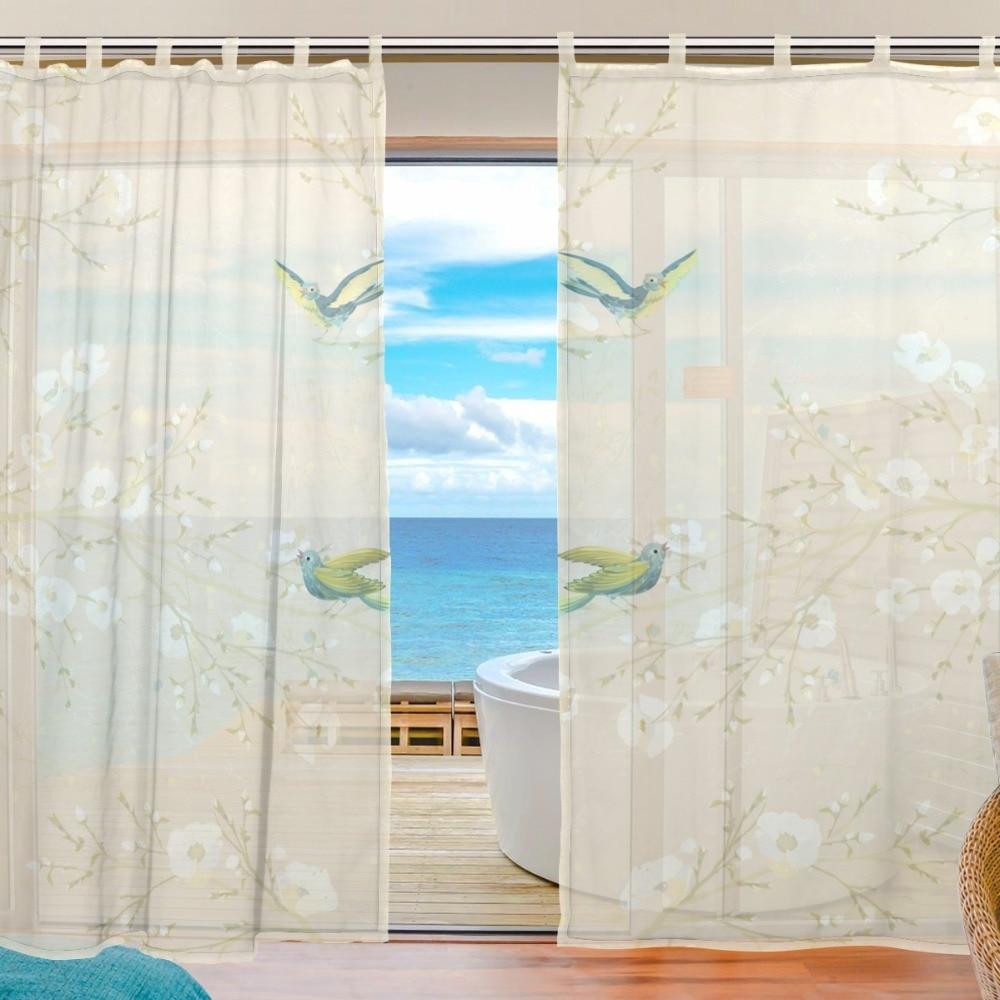 Bird sheer curtains - Bird Curtains Flowers Bedroom Sheer Curtains For Living Room Tulle Curtain Panels Window Screening