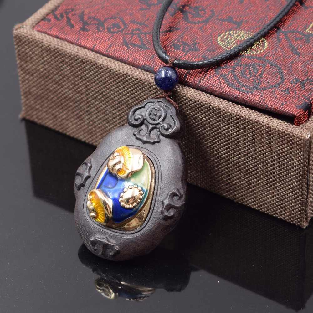 Grosir perhiasan wanita Rosewood kayu perhiasan etnik kalung, fashion mutiara kilau Buddha cloisonne bunga antik kalung
