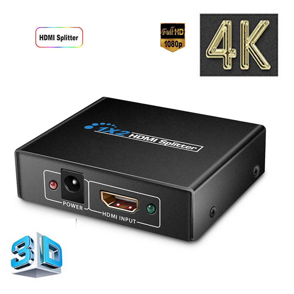 1080 P Amplifier Adaptor untuk HDTV DVD HD HDMI Splitter 1X2 Port 3D 4 K * 2 K video Switch Switcher HDMI 1 Input Output 2 Stripper