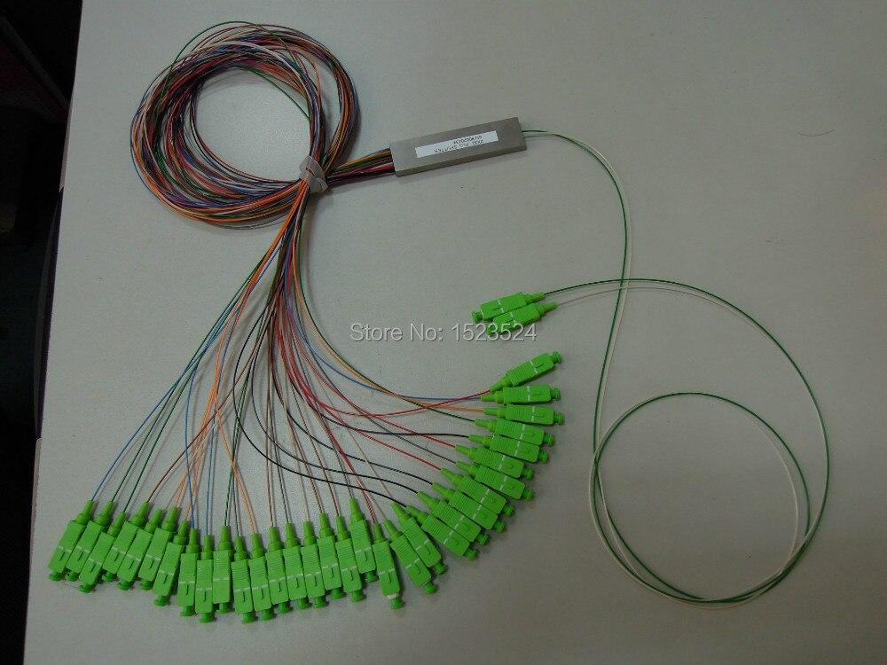 Livraison gratuite 0.9mm Tube en acier EPON 2x32 Mini connecteur SC/APC sans blocage 2:32 fibre optique PLC séparateur
