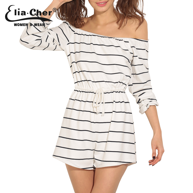 7dc27a1db4c5 Women Stripe Lounge Romper Elia Cher Brand New Women Jumpsuit Plus Size  Casual Women Clothing Chic Fitness Rompers 6423-in Rompers from Women s  Clothing on ...