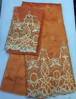 (5 + 2 metre/set) 5 yards orange afrika george kumaş & 2 yards tül dantel giyim dikiş kumaş için afrika bluz & sarıcı mar-17-2017