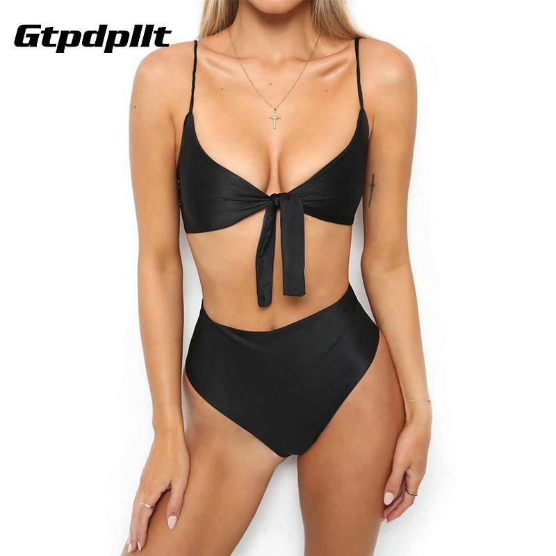 Gtpdpllt 2018 Beach Summer panties and bra set Women bras Black Yellow brief set sexy lingerie women Padded High Waist underwear