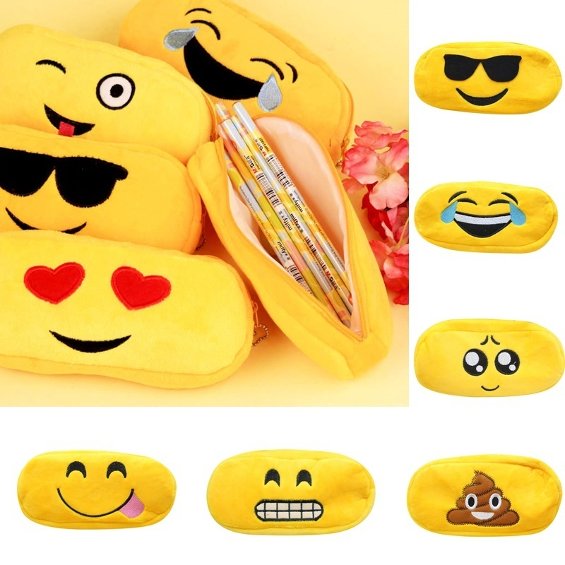 Lovley Cute Emoji Velvet Expression Bag Pencil Pen Case Cosmetic Makeup Travel Pouch Bag Party Gift Bags