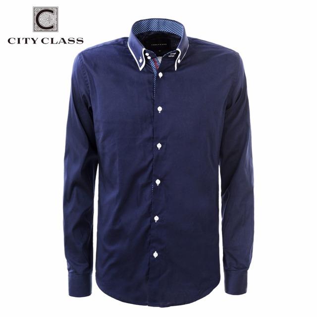 LA CIUDAD de CLASE 2016 vestido de los hombres de la ue tamaño de negocios camisas formales oficina ropa de marca camisa masculina pura colar blanco azul 2971