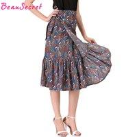 2017 Floral Lace Up Skirt Pleated Ruffle Mermaid Skirts Womens Linen Chiffon Print Long Skirt Faldas