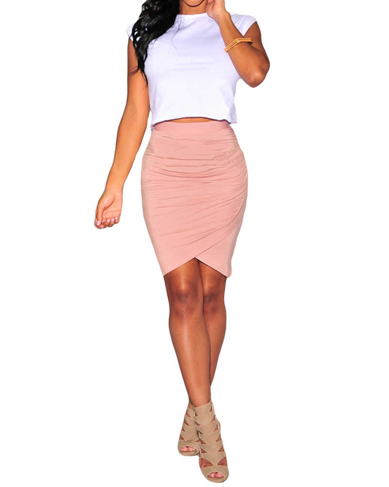 e81c455ca9 ... 2019 Summer Sexy Mini Skirts Women Stretch Draped High Waist Asymmetric  Ruched Pencil Skirt female Slim ...