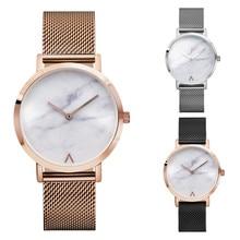 2017 Women Fashion Retro Stainless Steel Quartz Watch Minimalist Hot Marble Watches Clock Ladies Wristwatches Popular