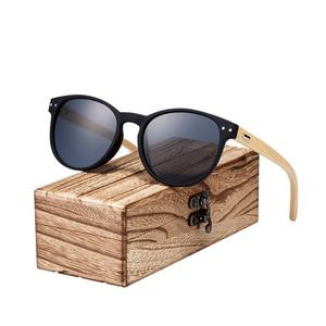 Image 2 - BARCUR Vintage Round Sunglasses Bamboo Temples Polarized Wood Sun glasses Men Women Shades oculos