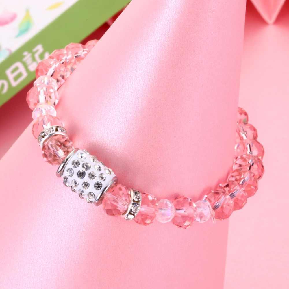 Kolorowy kamień koraliki z kryształ przezroczyste koraliki bransoletka dla kobiet i mężczyzn moda proste klasyczne bransoletka Unisex