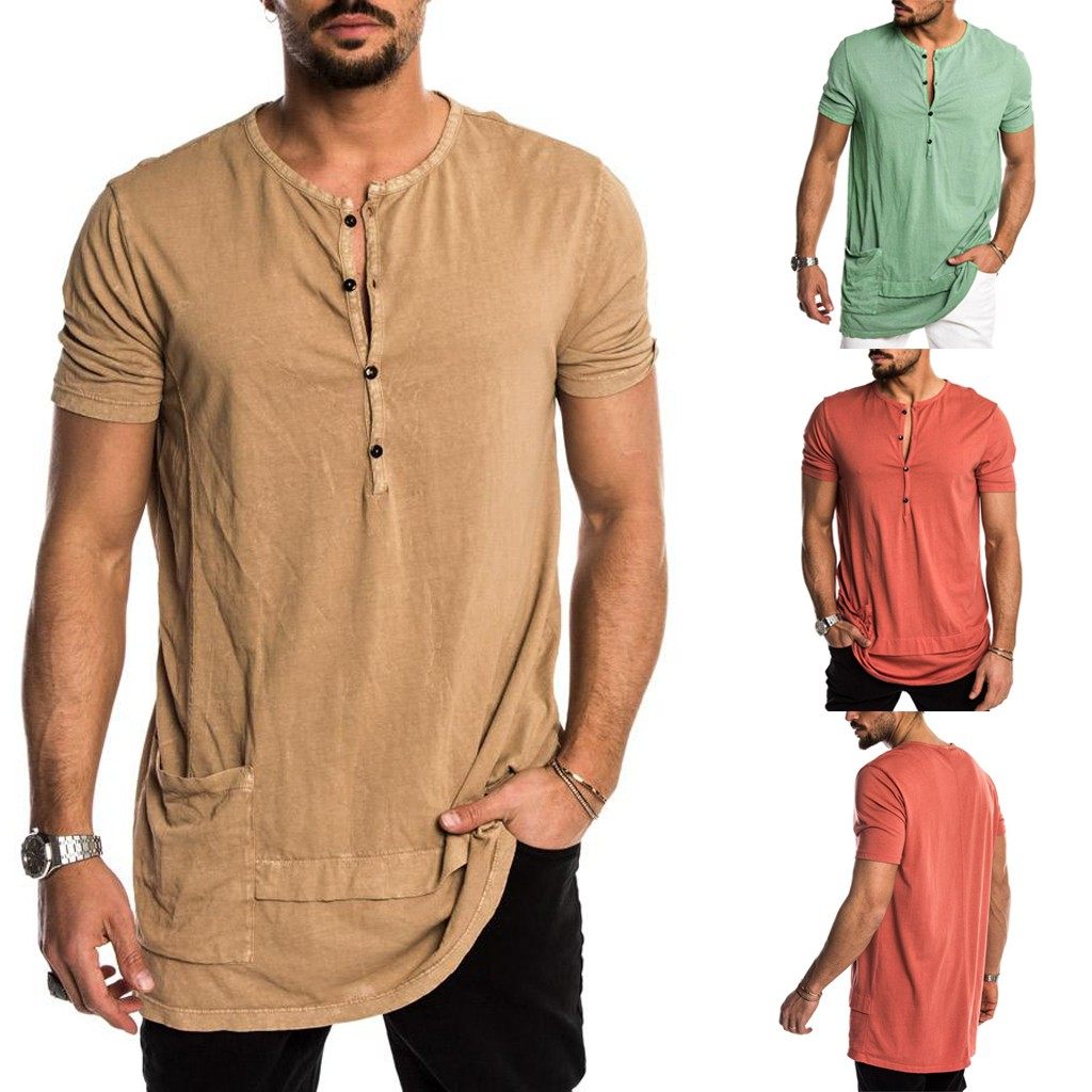 2019 Summer Fashion Men's   T     Shirt   Men's Summer New Style Fashion Personality Pocket Short Sleeves Pure Color Top Casual For Male