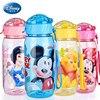 Disney My bottle Children Kids Baby Cartoon Minnie Mickey Lovely Eco-friendly With lid Hiking Straw Type Plastic Water bottle
