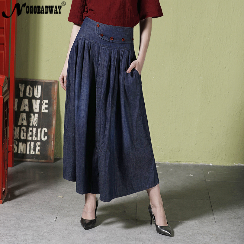 56080c4c632 Summer 2018 vintage denim skirts long for women maxi jeans skirt high waist  pleated skirts casual pocket bottom saias plus size