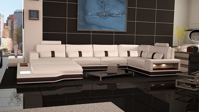 Ivory Sofa Storage Living Room Sofa Set Modern Leather Sofa Foshan B2022