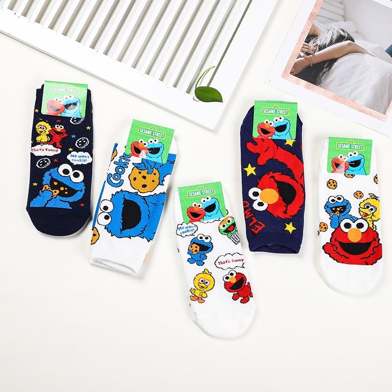 Korean Style Cartoon Sesame Street Print Socks Elmo Cookie Monster Cute Funny Women Socks Spring Summer Breathable Cotton Socks