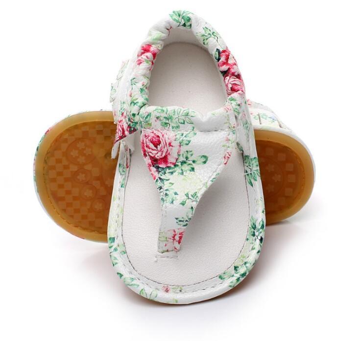 Heißer verkauf pu leder 2019 neue mode blumenmuster baby mokassins kind sommer mädchen jungen sandalen harte gummisohle babyschuhe