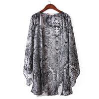 Women Clothes 2017 Printed Cardigan Blouse Tassel Fringe Shawl Kimono Cardigan Coat Jacket Plus Size Women