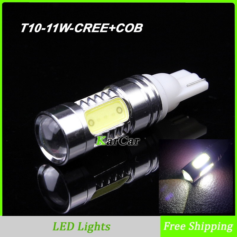 11W T10 194 168 CREE Chip R5 + COB Chip LED Clearance Light with Lens,12V W5W Car Marker Bulb 161 Wedge Lamp 912 921 Tail Lights new h4 120w cree chips car led headlight kit 6000k white car bulb lamp light cob led light chip